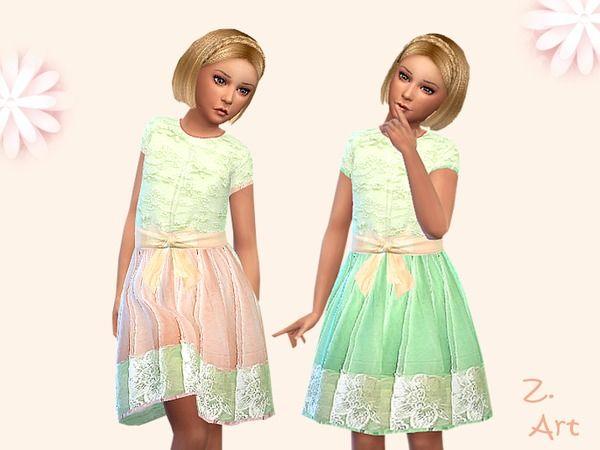 Sugar Doll delicate chiffon dress by Zuckerschnute20 at TSR via Sims 4 Updates