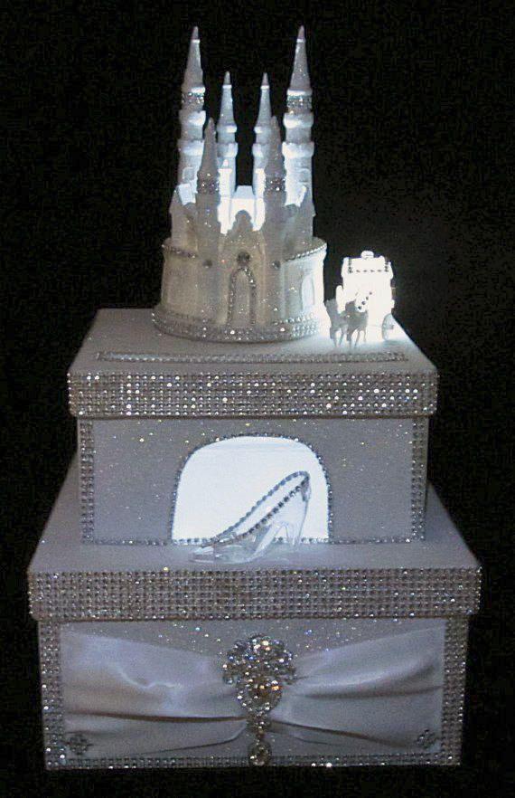 cinderellthemed wedding scroll invitations%0A Lighted Cinderella Castle Wedding Card Box   Cake Topper