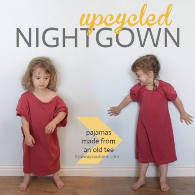 Turn one of your old t-shirts into a cute princess nightgown in 15 minutes! Super simple sewing tutorial. #diy #pattern