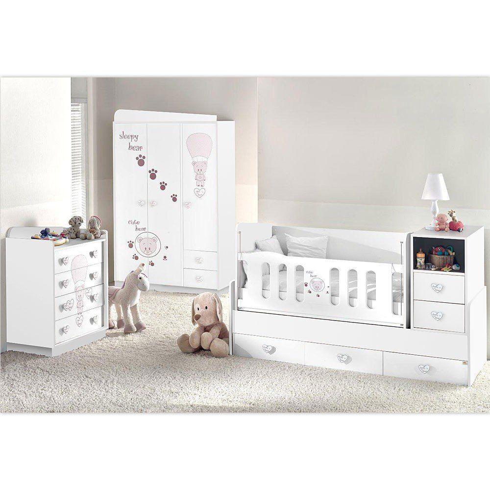 mitwachsendes komplett babyzimmer weiss cute bear mit 3 t rigem kl von 0 bis 12 jahren das. Black Bedroom Furniture Sets. Home Design Ideas