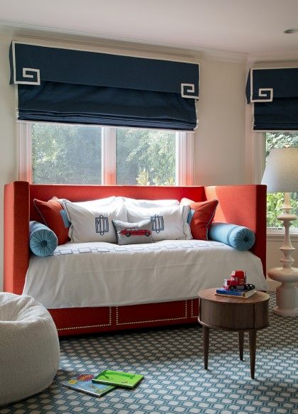 Palmer Weiss   bedroom w daybed #blue #orange #bedrooms BABES - Orange Bedrooms