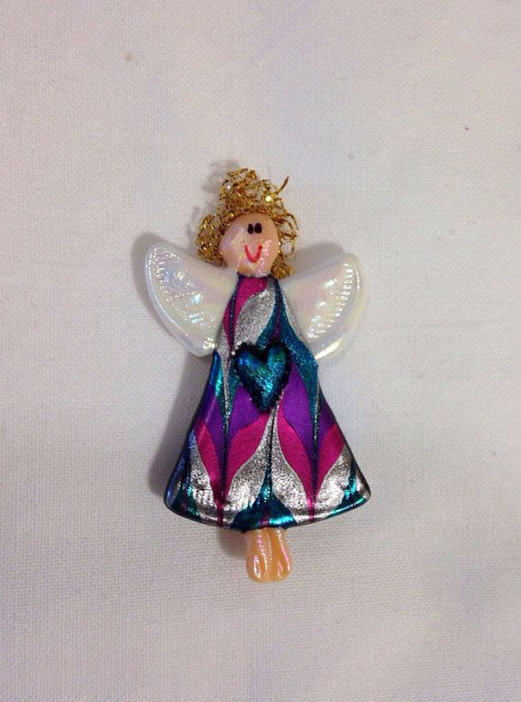 Purple Silver Pink and Blue Angel Pin with blue heart- gift under 10 dollars on Etsy, $5.00