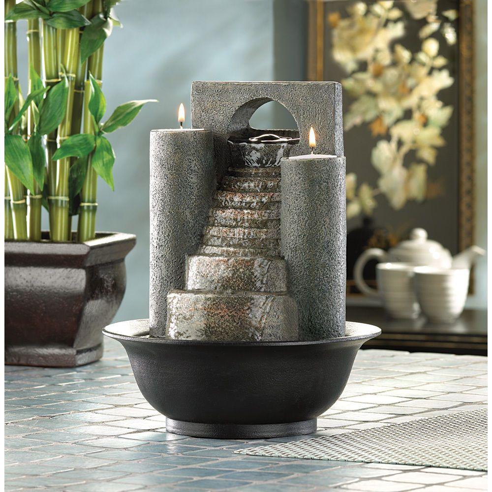 Tabletop Water Fountains Indoor Candles Zen FengShui Table Patio Home  Office Set | EBay