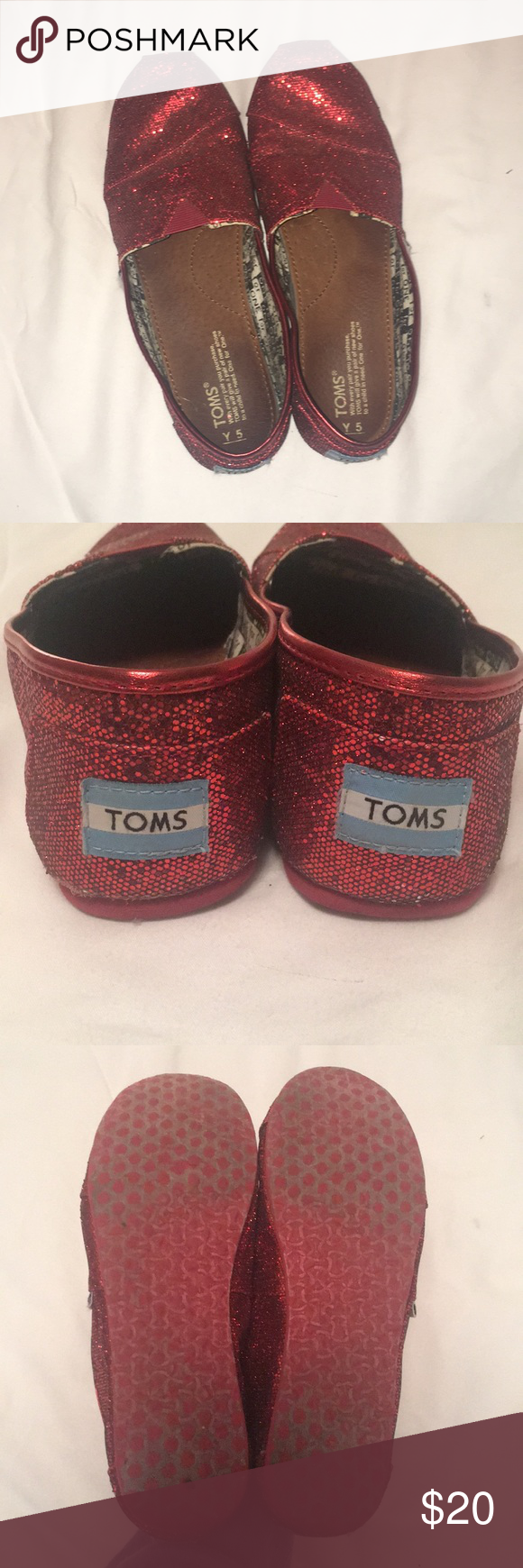 514b9b33446 Sparkly red TOMS shoes size Youth 5 or Women s 7 Dorothy shoes! All over red  sparkles. TOMS brand. Size Youth 5 or a Women s 7. Toms Shoes Dress Shoes