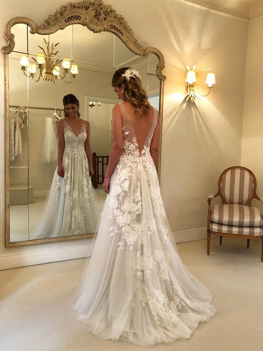 Sexy see through beach wedding dresses v neck bridal dress with slit
