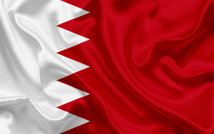 Download Wallpapers Flag Of Bahrain Kingdom Of Bahrain Asia Silk Flag Besthqwallpapers Com Kingdom Of Bahrain Bahrain Flag Flags Of The World