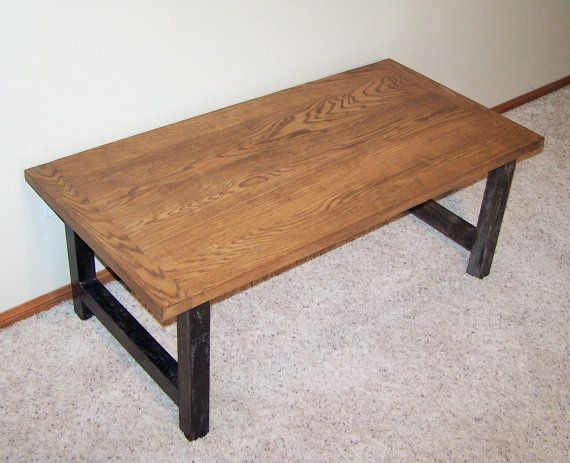 This Is A Steel Oak Coffee Table The H Style Legs Are Made With 2 And Comes Leg Foot Inserts To Protect Your Floor