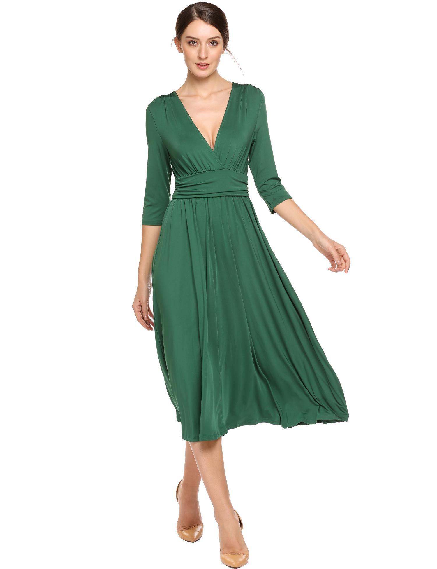 Dark Green V Neck 3 4 Sleeve Ruched Waist Solid Casual Midi Dress Dresslink Com Midi Dress Casual Dress Link Dresses [ 1950 x 1500 Pixel ]