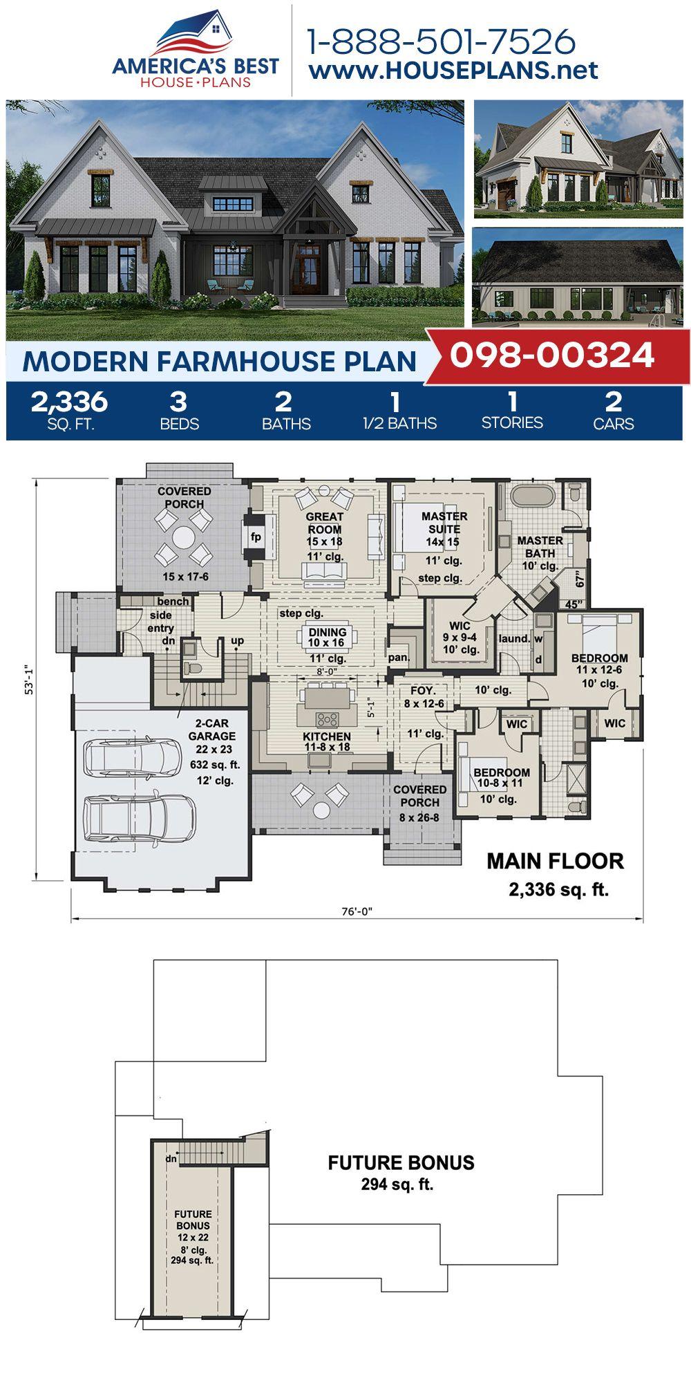 House Plan 098 00324 Modern Farmhouse Plan 2 336 Square Feet 3 Bedrooms 2 5 Bathrooms Modern Farmhouse Plans Farmhouse Plans Beautiful House Plans