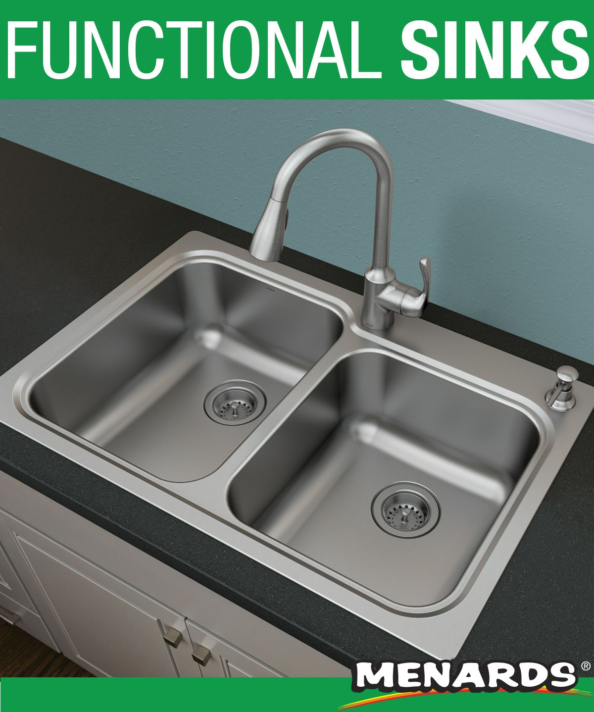 The Moen Lodi Stainless Steel Sink Features Quickmount Technology