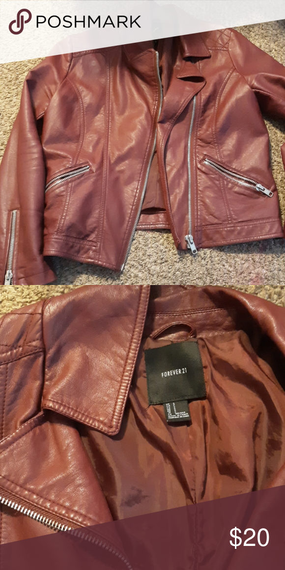 Forever21 leather jacket! Maroon colored leather jacket