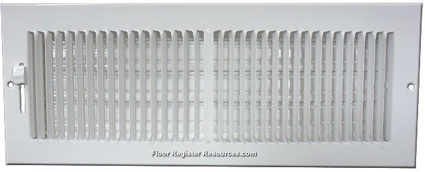 6 X 4 Stamped Steel Sidewall Ceiling Register White