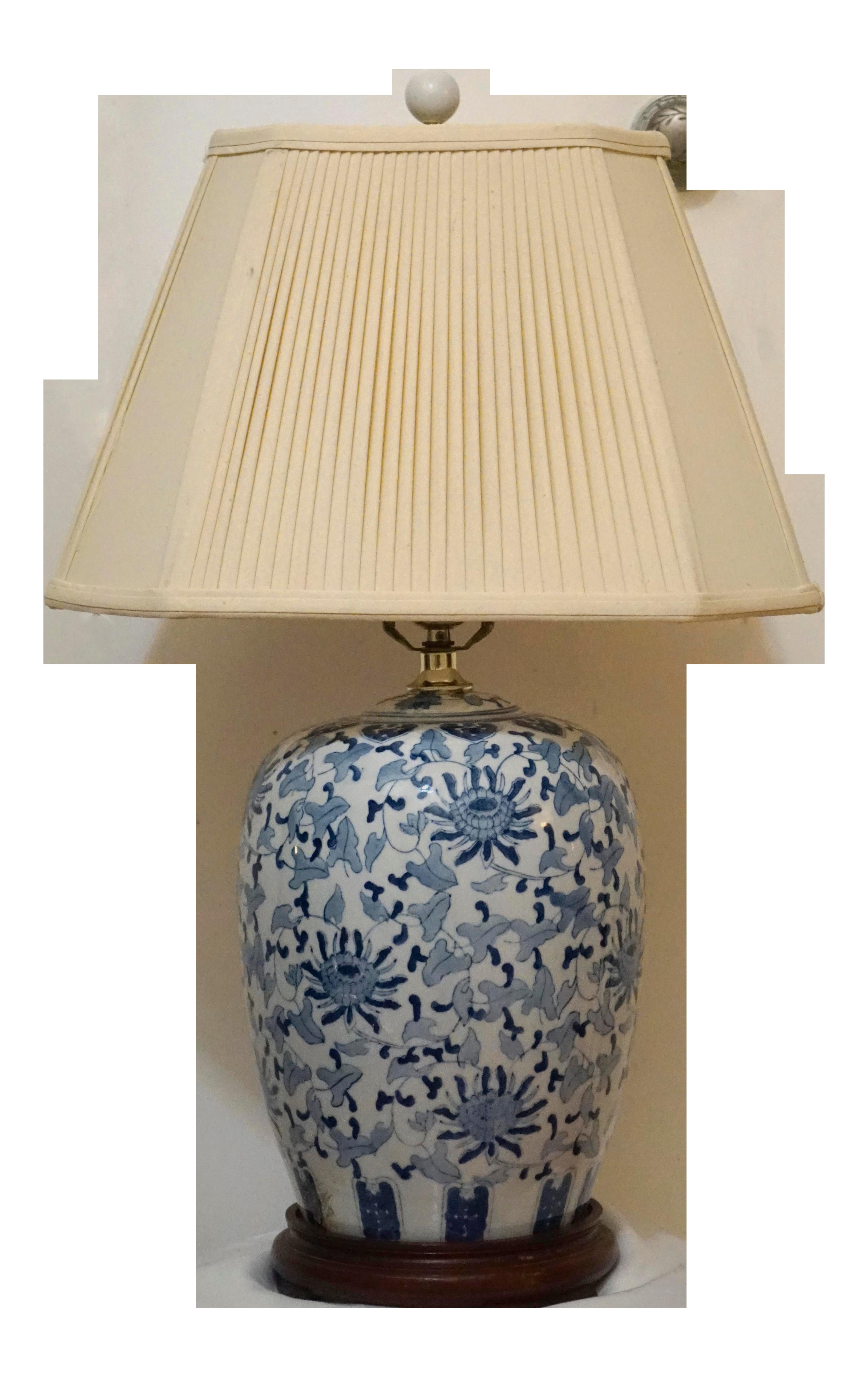 Blue And White Porcelain Chinese Ceramic Ginger Jar Lamp And Shade Ginger Jar Lamp Chinese Ceramics White Porcelain