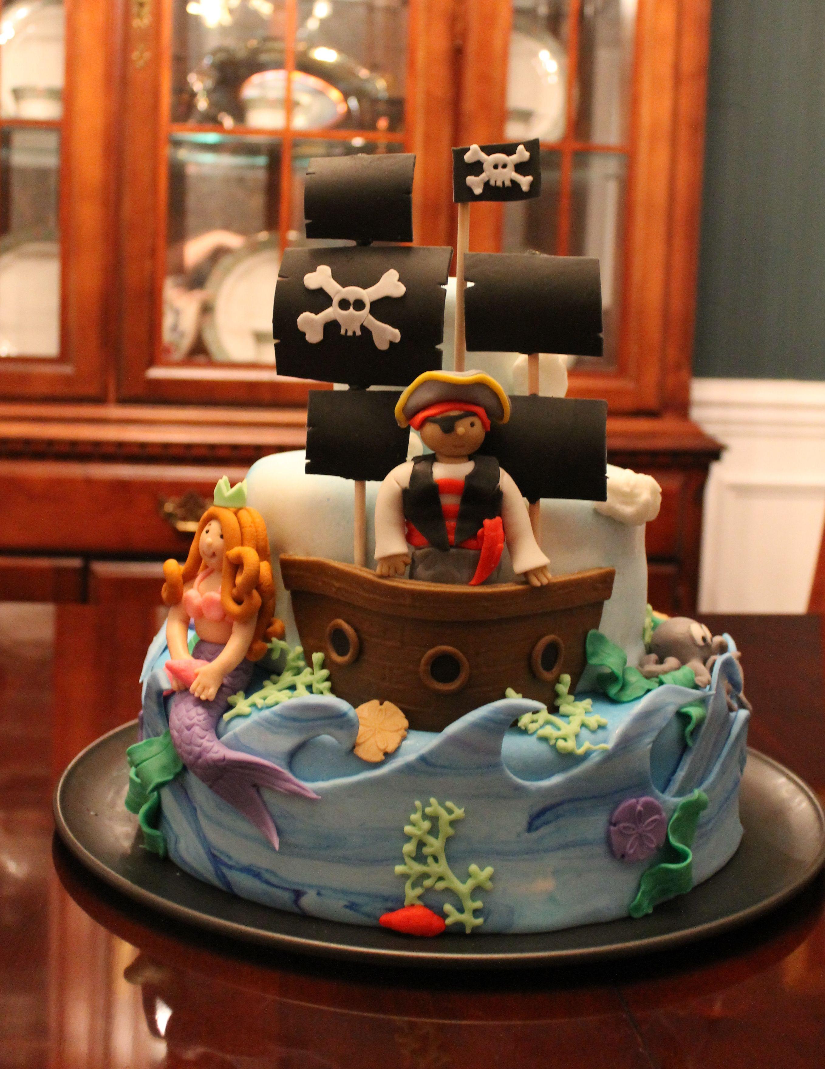 Super Pirates And Mermaids Cake Pirate Birthday Cake Pirate Birthday Birthday Cards Printable Inklcafe Filternl