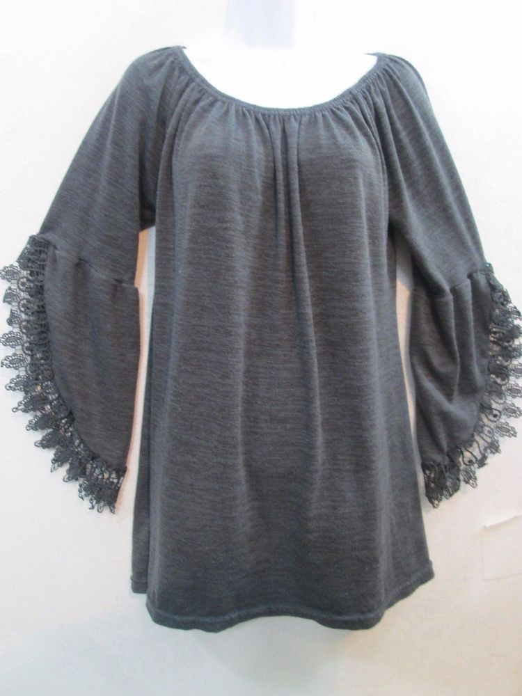 fbb450479e3 Win Win Women s Tunic Top Lace Open Long Sleeve Sweater Style Blouse Top  Size XL