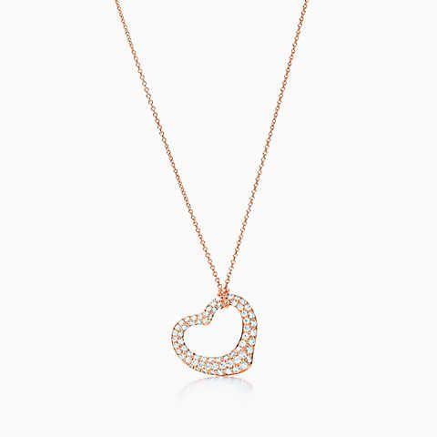 Elsa Peretti Collar De Corazón Abierto En Oro Rosa De 18 Quilates Con Diamantes De Tiffany & Co. RED32oJJ