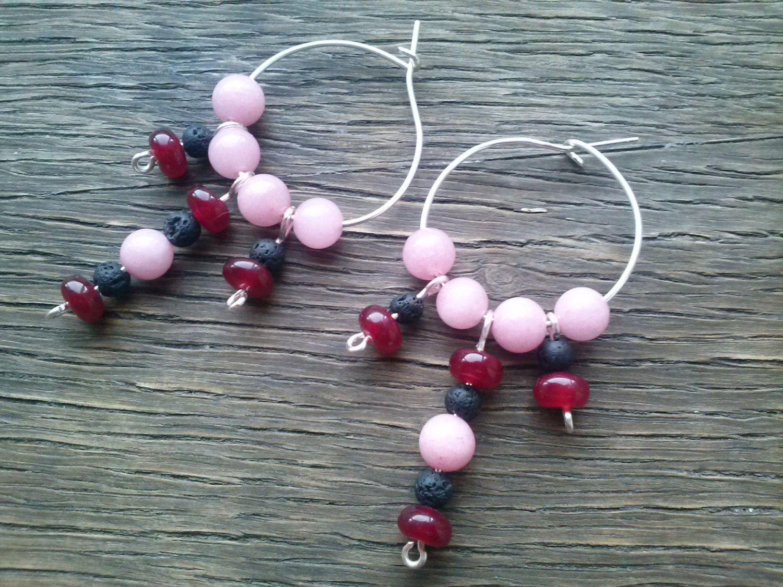 Gemstone hoop earrings,ARTISAN SILVER Earrings,wirework ruby and rhodochrosite earring,charm beaded earrings,energy healing by magyartist by magyartist on Etsy