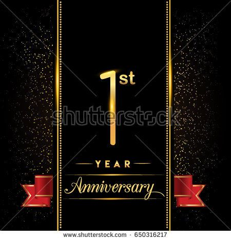 One year anniversary celebration logotype 1st anniversary logo with one year anniversary celebration logotype 1st anniversary logo with confetti golden colored and red ribbon stopboris Image collections