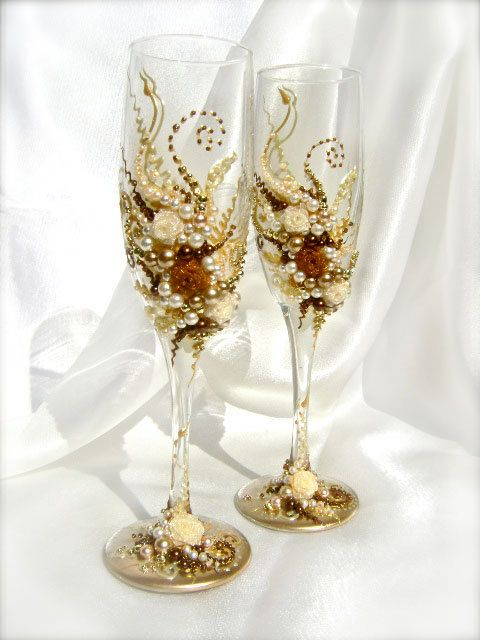Wonderful Wedding Champagne Gles Elegant Toasting Flutes In Ivory Gold And Brown