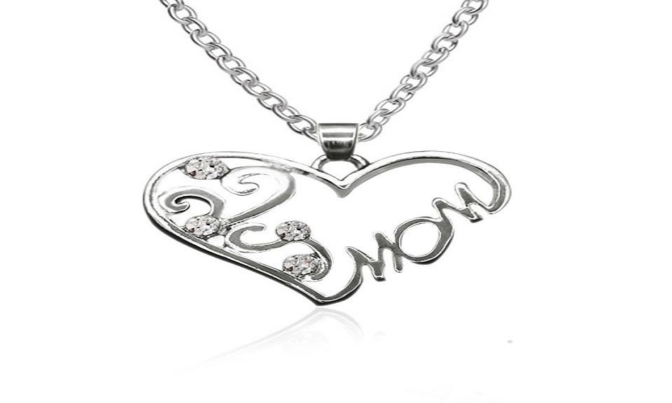 MOM Crystal Heart Pendant Necklace Women Birthday Mother/'s Day Gifts Jewelry