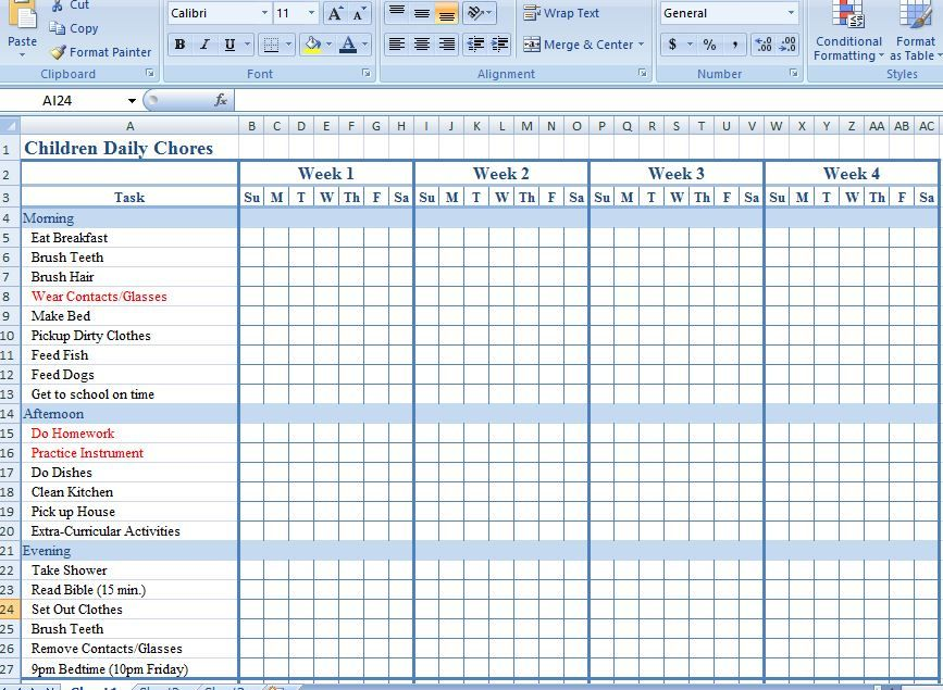 Children Daily Chore Chart Template Organization Pinterest