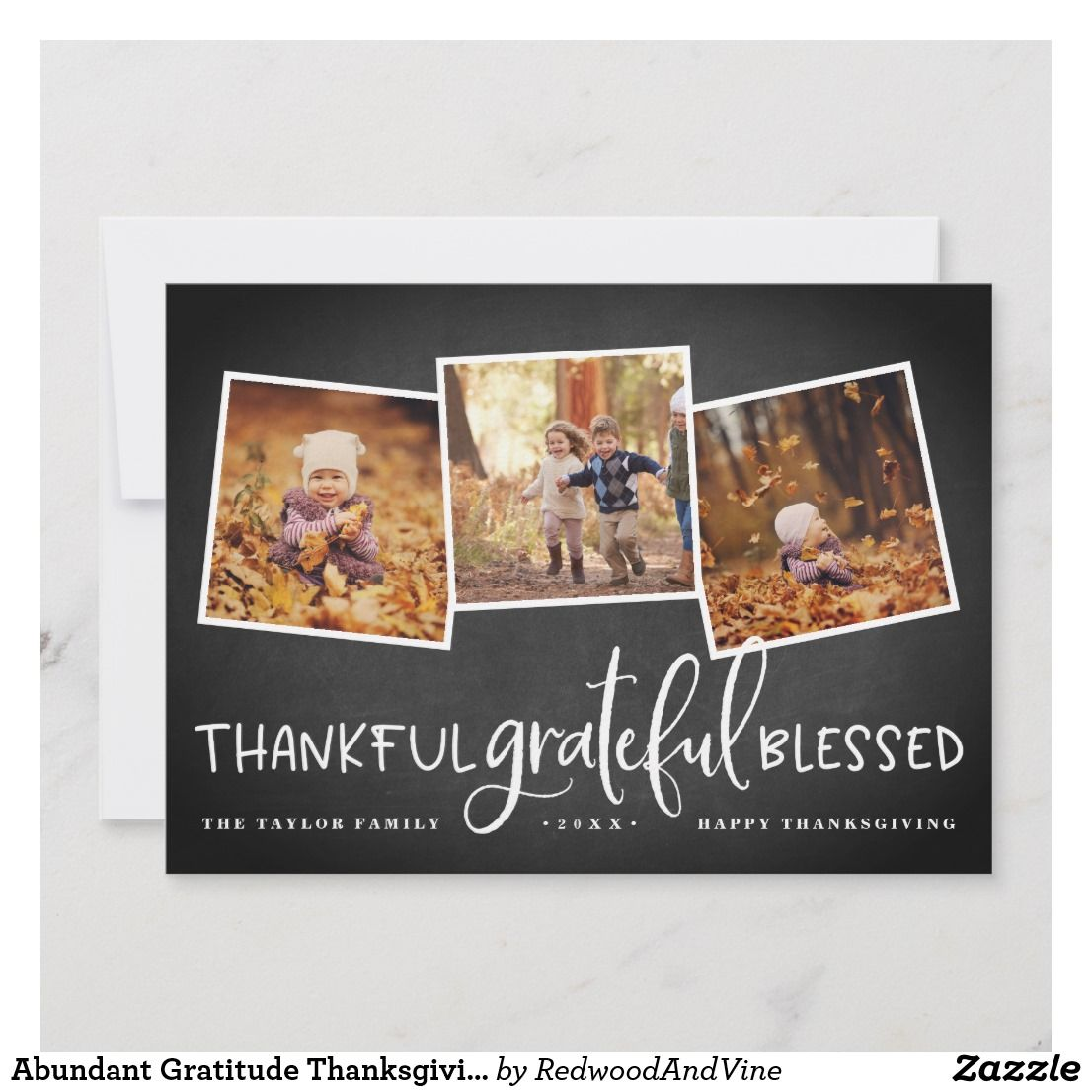 Abundant Gratitude Thanksgiving Photo Collage Card | Zazzle.com