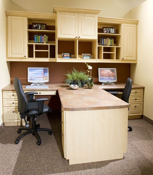 Home office eat for people love the closed cabinetry hiding things out of sight makes room much more organized looking also rh hu pinterest