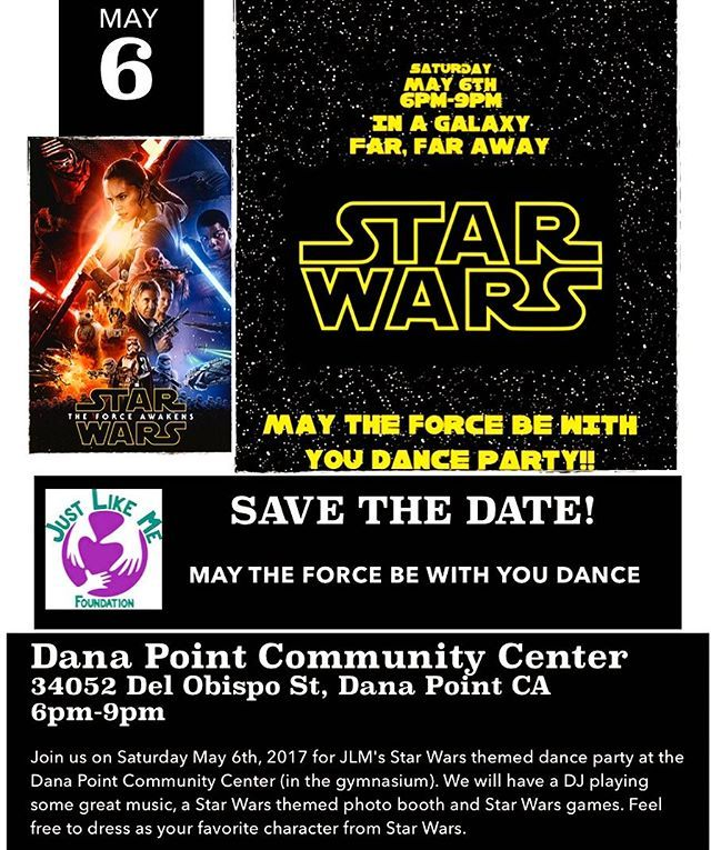 We are a month away from our first big event! May 6th 2017 from 6pm-9pm at the Dana Point Community Center. RSVP to lyndcee@justlikemefoundation.org by May 1st! 🚀🌟🌟🌟 #justlikemefoundation #starwarsparty #starwars #nonprofit #danapoint #danapointcommunitycenter #cityofdanapoint #specialneeds #autism #orangecounty #downsyndrome #california #beachcity #dance #fun #friendship #music #activities #darthvader #jedi #eventplanner #sanclemente #evedeso #eventdesignsource - posted by Just Like Me…