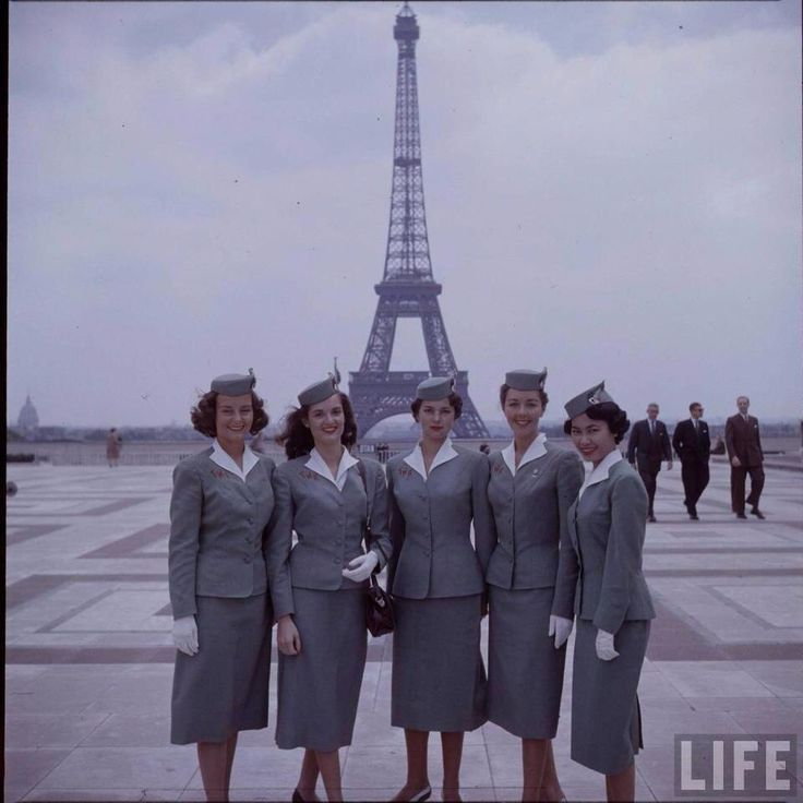 TWA Flight Attendants in Paris LIFE magazine American