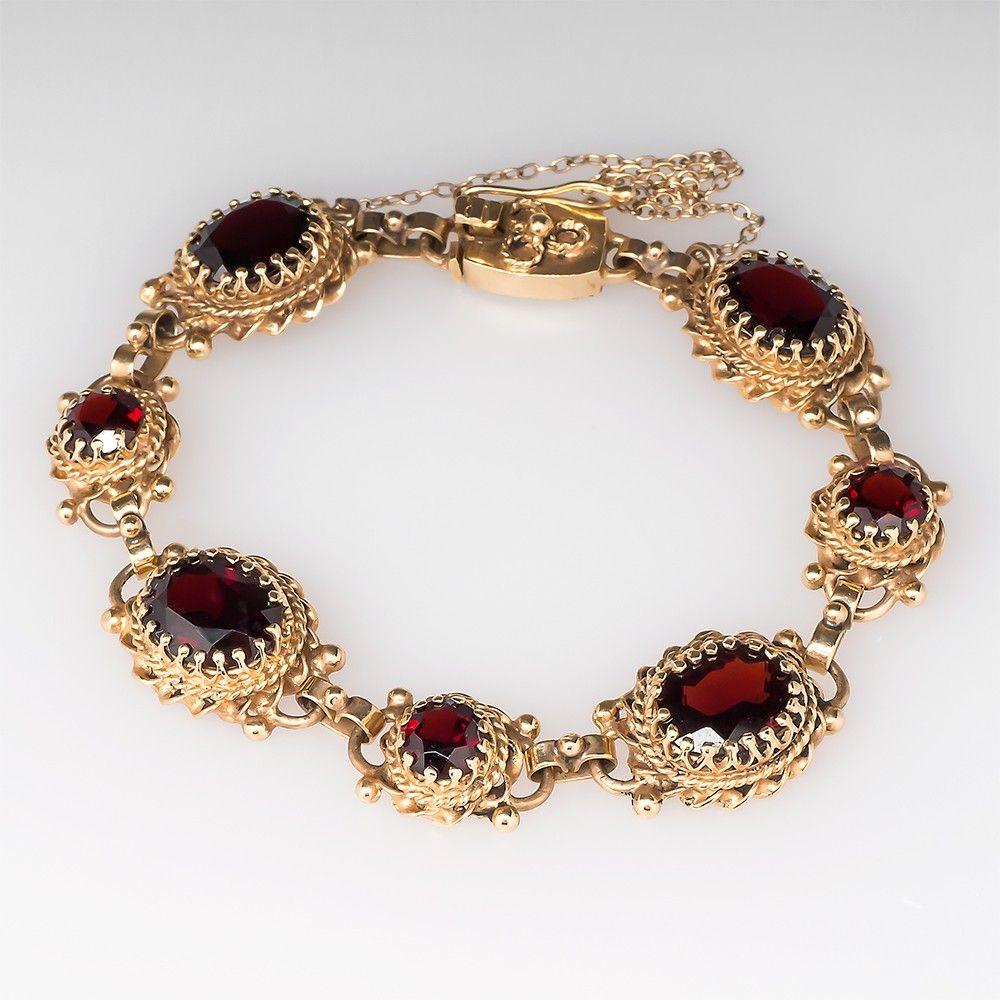 Handmade vintage garnet bracelet w fancy bezels k gold not a