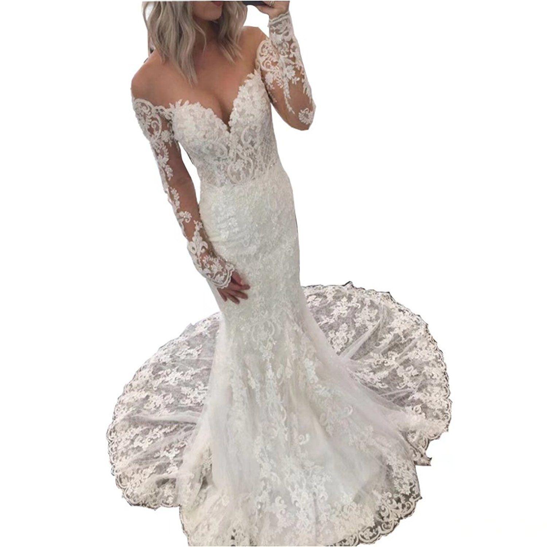 Dingdingmail illusion long sleeve lace mermaid wedding dresses for