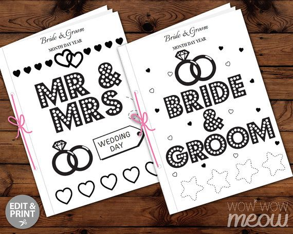 WEDDING COLORING Book Kid Activity Children\'s Page Sheets Mr & Mrs ...