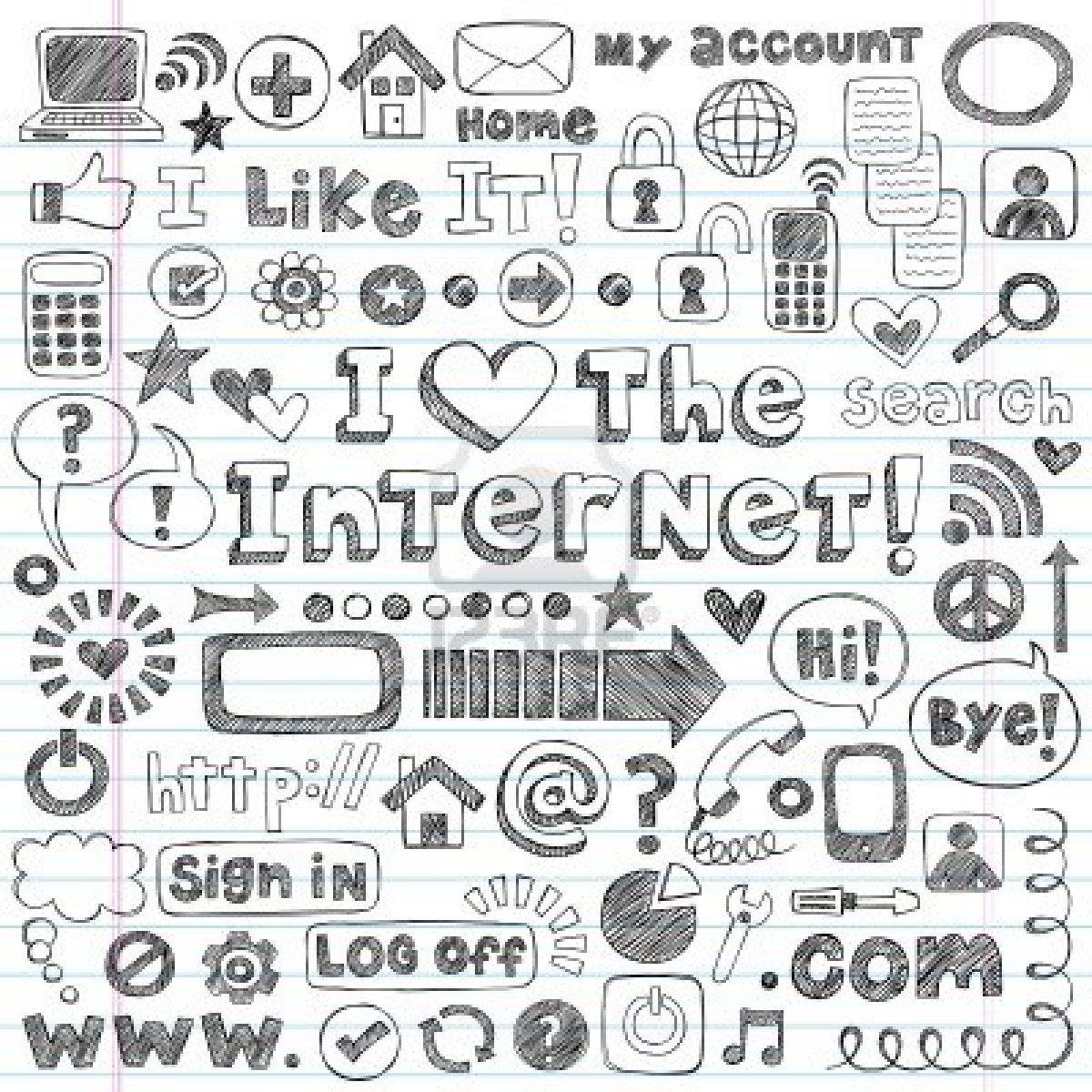 Web / Computer Doodles Icon Set - I Love the Internet Back ...