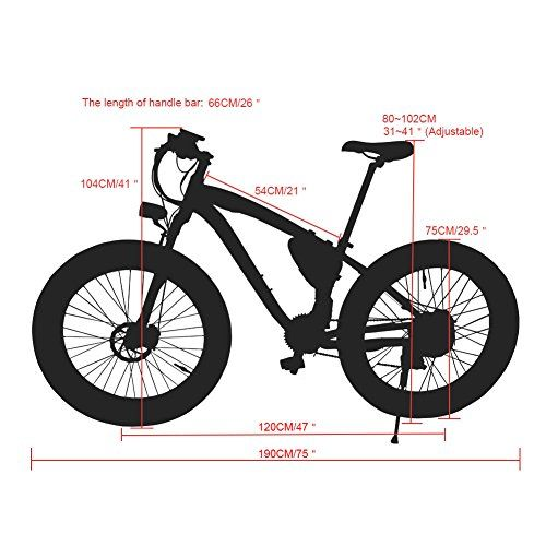 460cfb268d9 Ninja RT012 Electric Mountain Bike Snow & Beach Bicycle Fat Tire with  Lithium Battery and