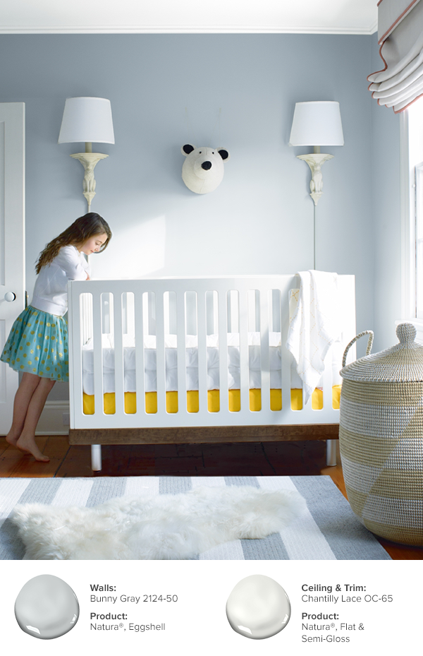 Design Your Baby S Nursery With Colors That Have A Calming Effect Featured In This Photo Walls Bunny Gray 2124 50 Natura Eggshell