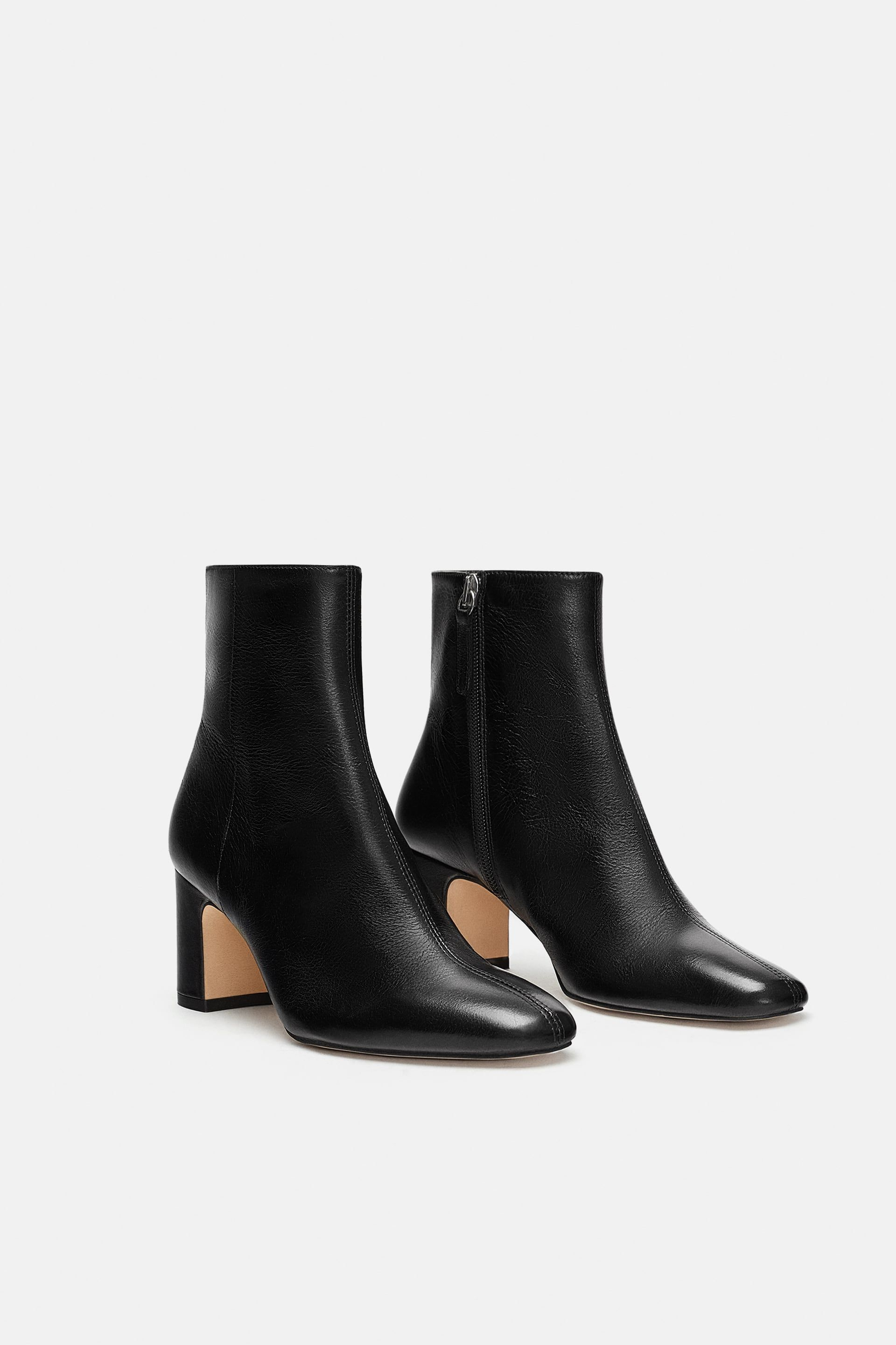 6dc381059bc ZARA - WOMAN - LEATHER HEELED ANKLE BOOTS