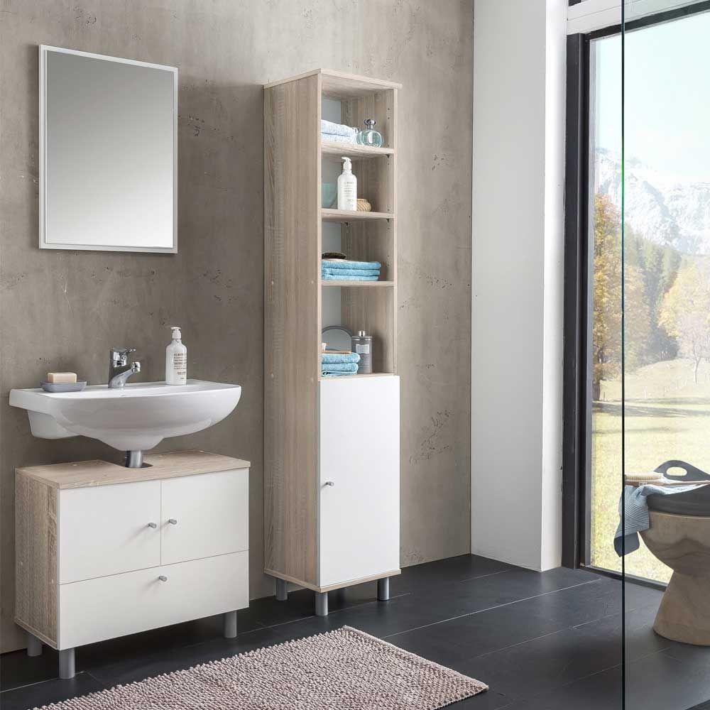 Badezimmermöbel In Weiß Sonoma Eiche Komplett (3 Teilig) Jetzt Bestellen  Unter: Https
