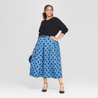 "2513e6c693e02c Women's Plus Size Polka Dot Birdcage Midi Skirt - Who What Wearâ""?20Blue/ Black 20W #Dot, #Birdcage, #Polka"