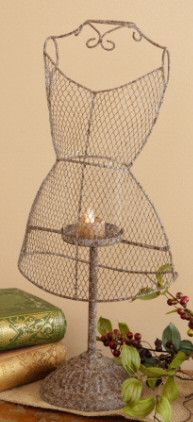Rustic Renaissance Dress Model Tin Candle Holder