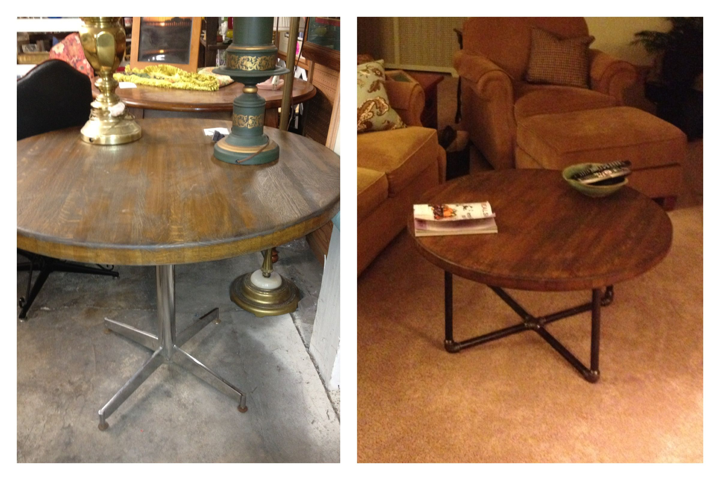Buy Butcher Block Table Top: Round Butcher Block Table Top (antique Store Find) And