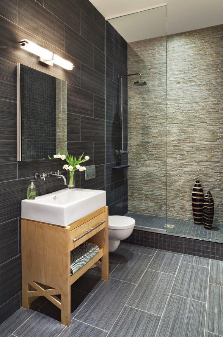 Putty and grey stone tile bathroom | Inside design | Pinterest ...