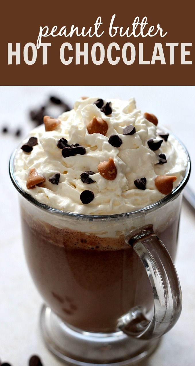 Peanut Butter Hot Chocolate Recipe - warm winter drink that tastes like peanut butter cups but saves on calories! With just 4 ingredients, it can't be easier!