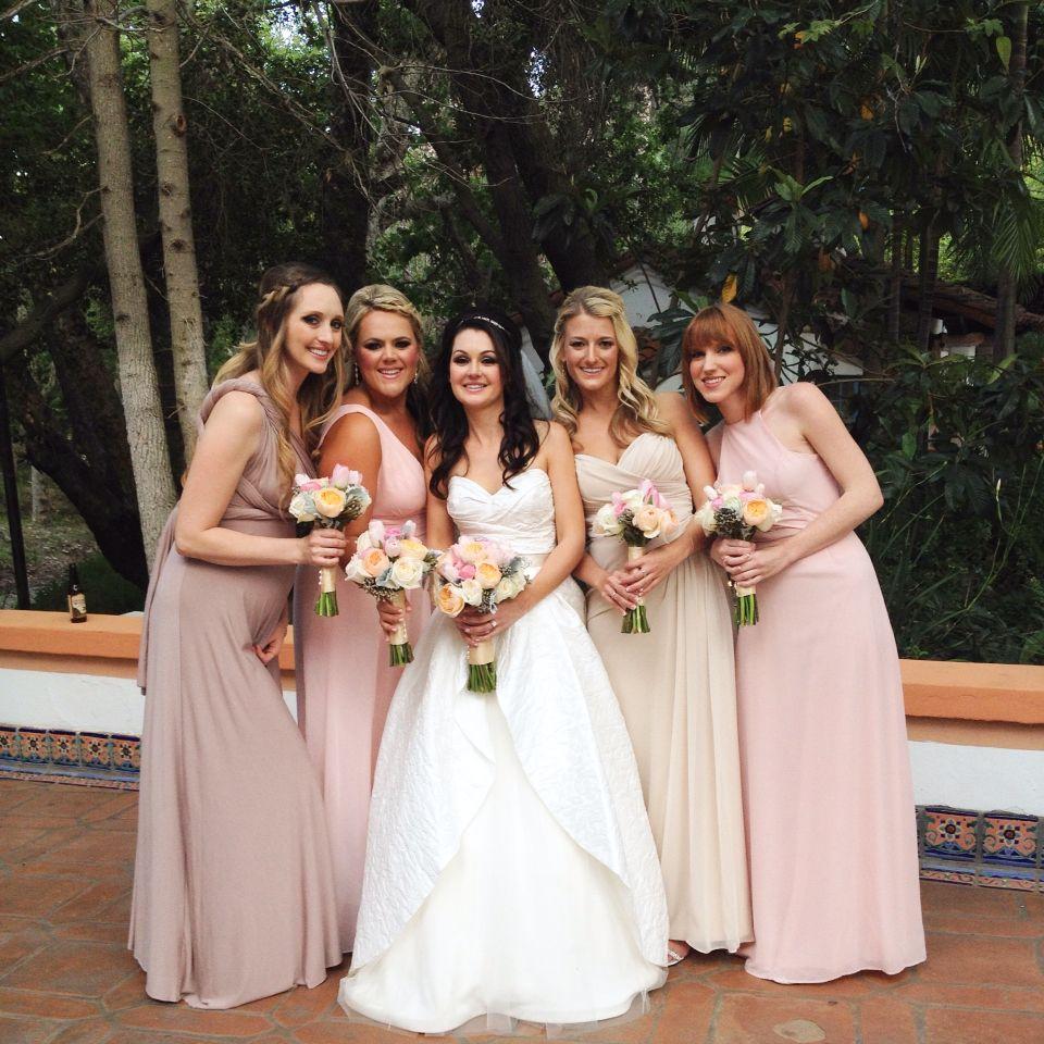 31e88cd15b4 Mix and match bridesmaid dresses. Light pink