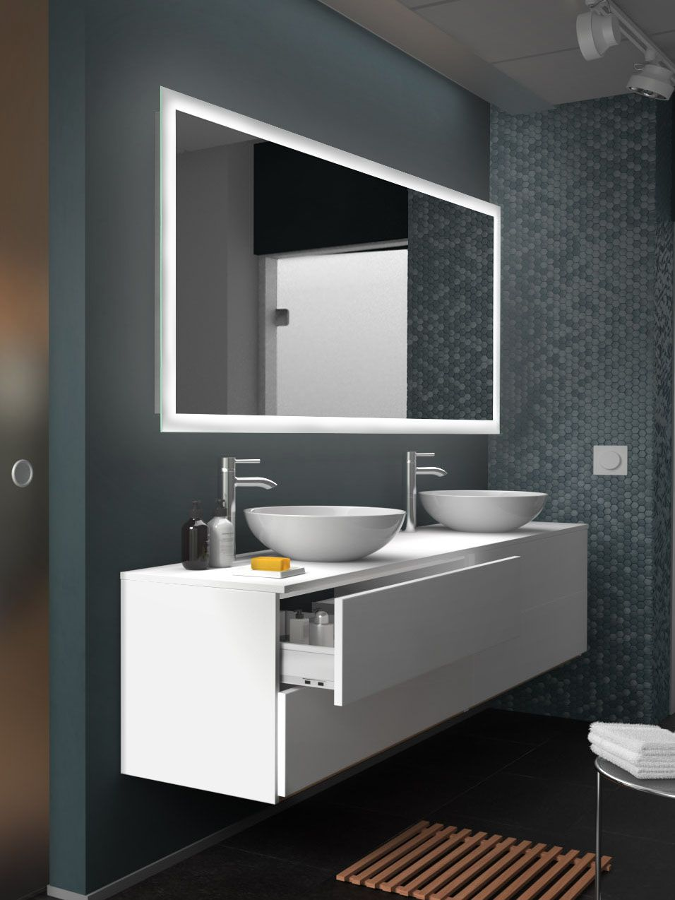 Led Badspiegel New York Mit Rundum Verlaufender Hinterleuchteter Satinierung Badspiegel Bad Spiegel Beleuchtung Badspiegel Led