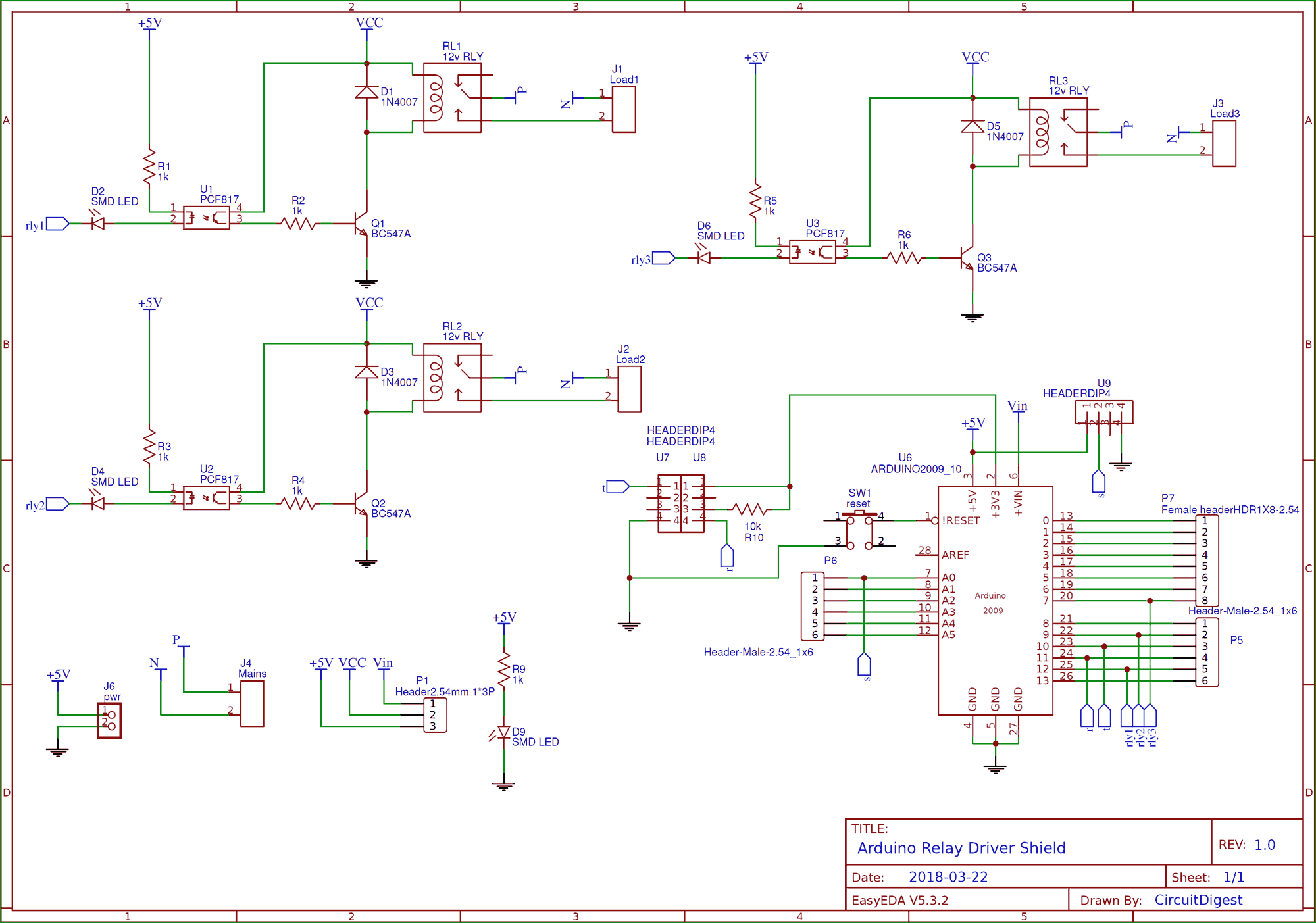 hight resolution of circuit diagram for diy arduino relay driver shield pcb