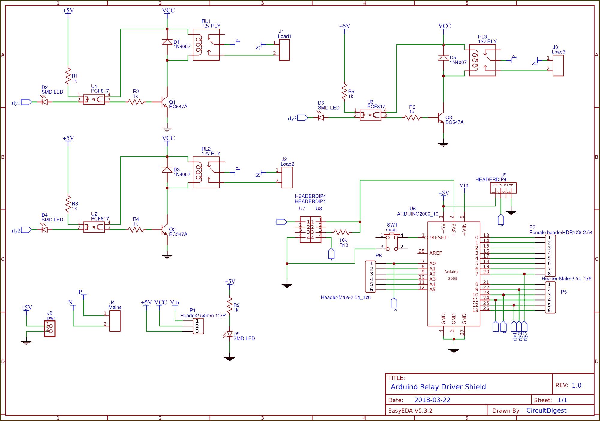circuit diagram for diy arduino relay driver shield pcb [ 2000 x 1403 Pixel ]