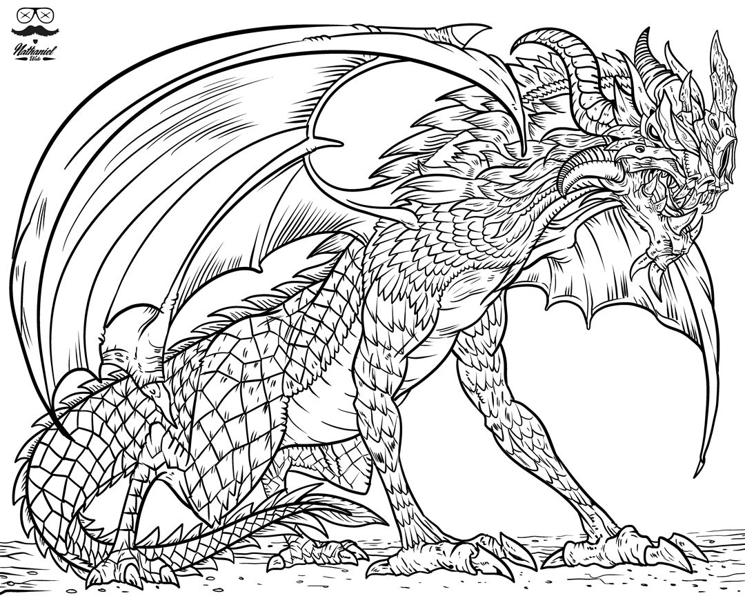 Pin On Dragon Printable Adult Coloring Pages