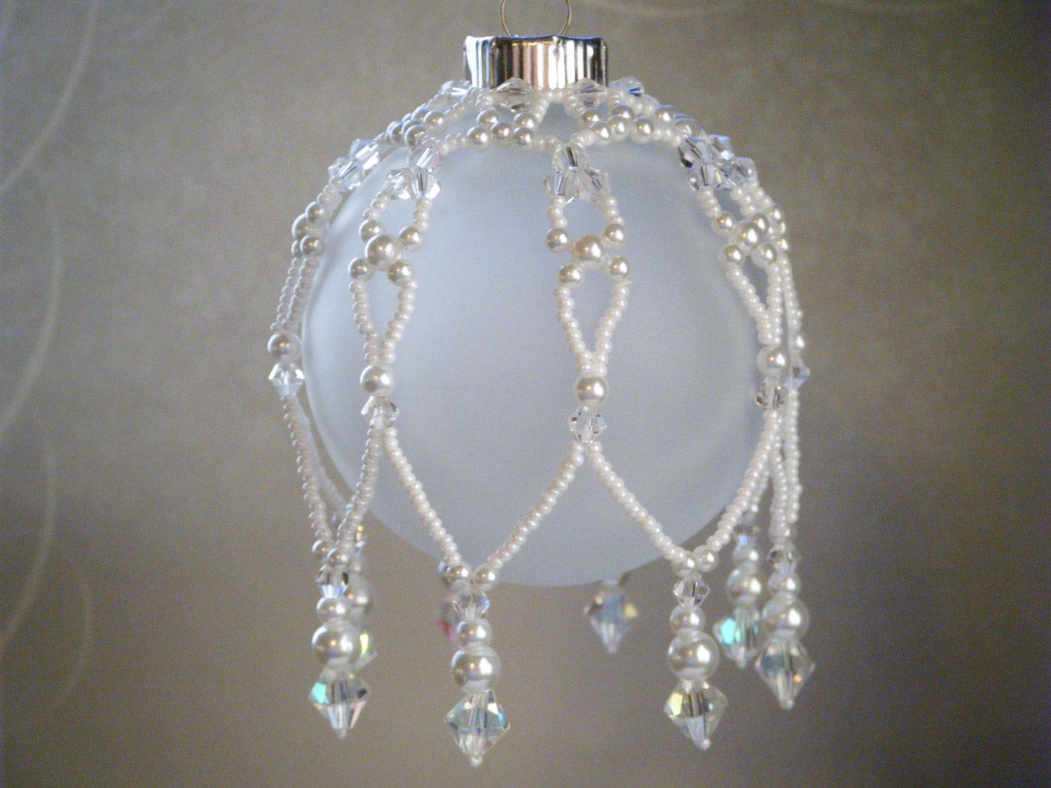 Christmas Ornament Beaded Ornament Cover Christmas Tree Ornament Clear Crystal Whit Beaded Christmas Decorations Beaded Ornament Covers Beaded Ornaments