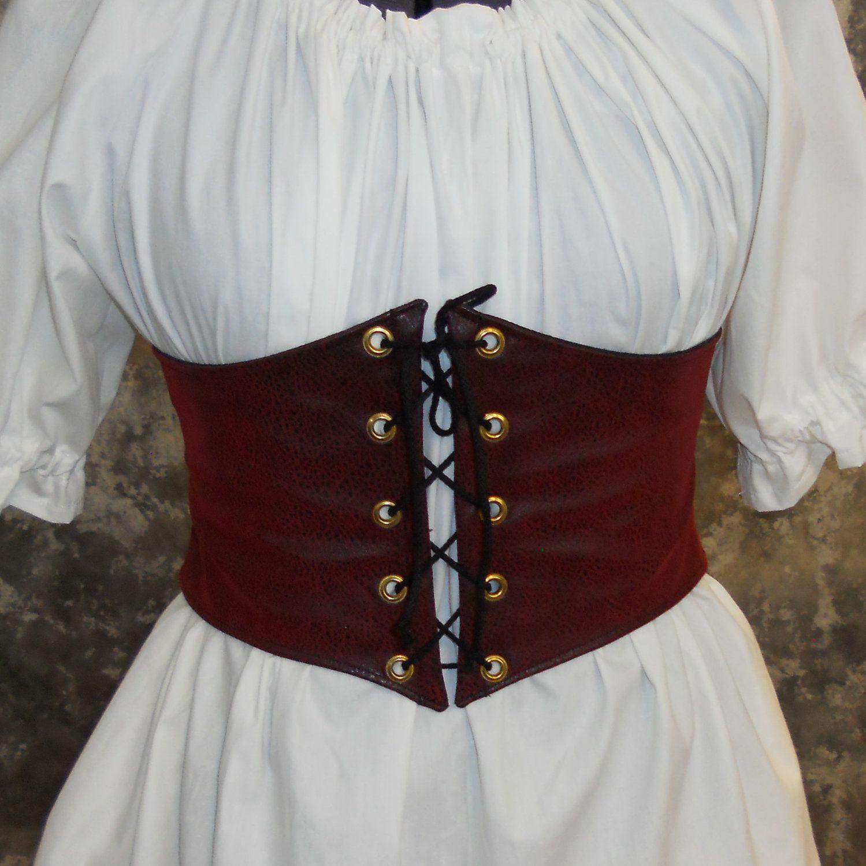 Renaissance Waist Cincher Pirate Waist Belt Corset Red Faux