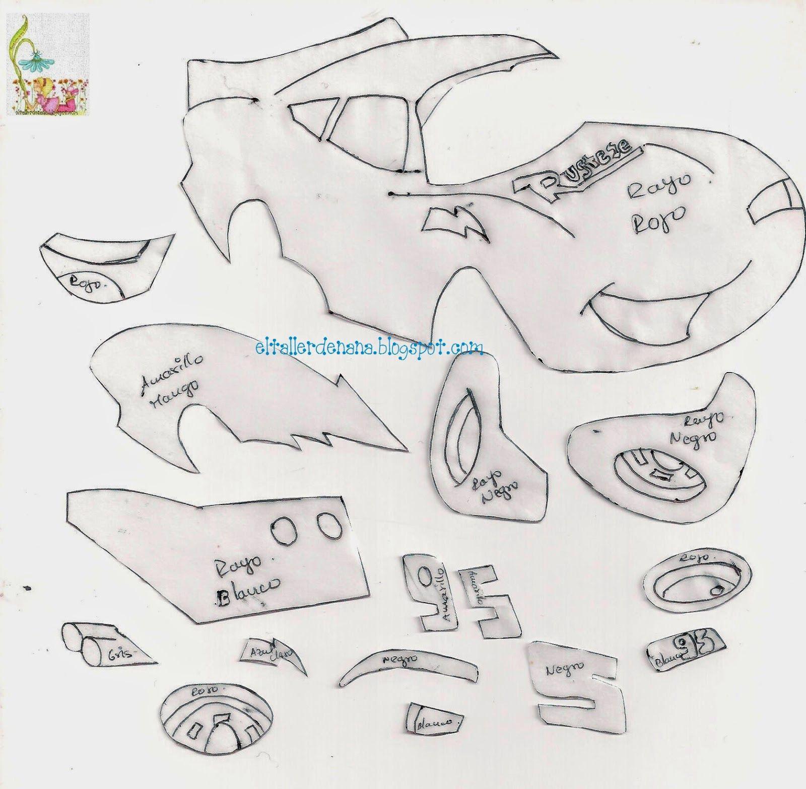 Hola... compartiré el molde de Rayo Mcqueen...personaje de la película Cars, feliz semana... un abrazo.                   Para armar, la pa...